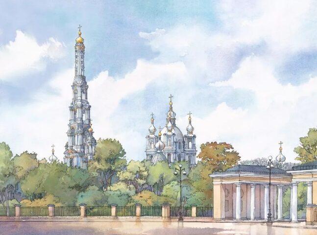 колокольня смольного монастыря фото
