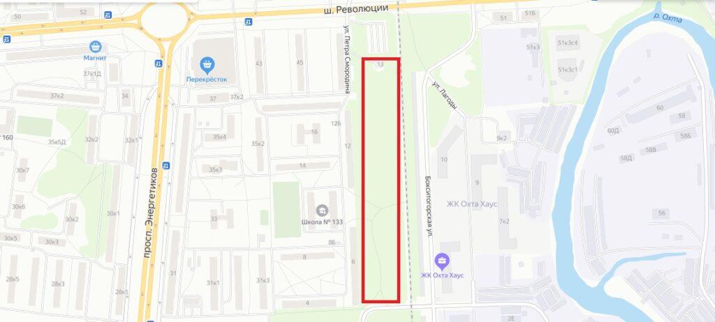 Примерные границы планируемого благоустройства на улице Петра Смородина