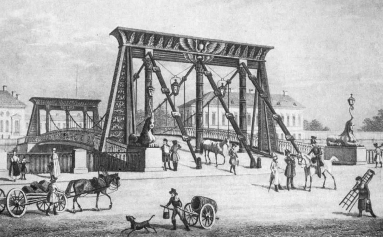 Египетский мост через Фонтанку - конструкция, история, обрушение и современная переправа